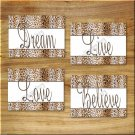 Leopard Cheetah Wall Art PRINTS Dream Live Love Believe Safari Animal Home Decor
