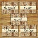 Leopard Cheetah Wall Art Pictures Prints Motivational Quote Love Laugh Live Dream Believe