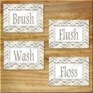 Chevron Pictures Prints Wall Art Bathroom Bath Word Decor Brush Flush Wash Floss Tan Beige