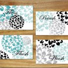 Teal/Aqua Gray and Black Bathroom Wall Art Pictures Prints Decor Floral Flower Bath Rules