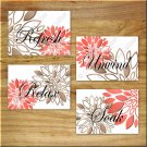 Coral Brown Bathroom Bath Wall Art Pictures Prints Decor Floral Flower Rules Words Modern