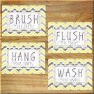 Yellow Gray Chevron Bathroom Bath Rules Wall Art Pictures Prints Decor Hang Wash Floss +