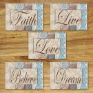 Blue Brown Tan Wall Art Pictures Prints Decor DAMASK FLORAL inspirational FAITH LIVE LOVE+