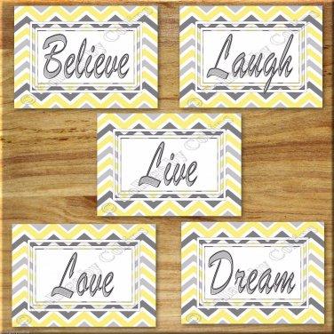 Yellow Gray Chevron Pictures Prints Wall Art Decor Inspirational  Love LAUGH Believe DREAM