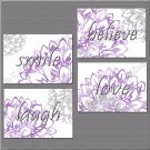 Gray Purple Flowers Floral Wall Words Art Pictures Prints Decor Laugh Love Believe Smile
