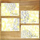 Yellow Gray Wall Art Pictures Prints Decor Home Distressed Rustic Floral Flower Quotes +