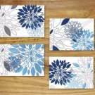 Blue Navy Gray Wall Art Pictures Prints Decor Floral Flower White Kitchen Bathroom Bedroom