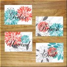 Coral Teal Gray Wall Art Bathroom Pictures Prints Quotes Decor Peony Dahlia Floral Burst