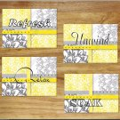 Yellow Gray Bathroom Bath Wall Art Pictures Prints Floral Flower Damask Quotes Soak Relax