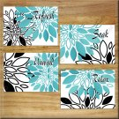 Teal  Aqua Black Wall Art Bathroom Pictures Prints Decor Peony Dahlia Floral Burst Rules