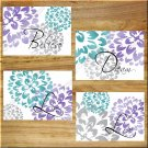 Teal and Gray Wall Art Pictures Prints Home Decor Floral Flower Purple Dream Peony Dahlia