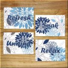 Blue Navy Gray Wall Art Bathroom Bath Spa Pictures Prints Decor Floral Flower Relax Soak