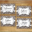 Leopard Cheetah Pictures Prints Wall Art Decor Quotes Motivational Live Love Learn Hope
