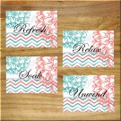 Teal Coral  Bathroom Wall Word Art Pictures Prints Decor Chevron Floral Unwind Relax Soak