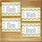 Yellow and Gray Chevron Zigzag Pictures Prints Wall Art Bathroom Bath Decor Floss Flush +