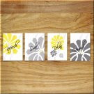 Yellow Gray Bathroom Wall Art Bath Quotes Pictures Prints Floral Flower Daisy Relax Soak