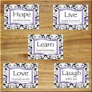 Purple Damask Wall Art Pictures Prints Decor Word Quote Live Learn Love Hope Motivational