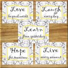 Yellow Gray Wall Art Pictures Prints Home Decor Love Live Laugh Hope Learn Quotes Damask