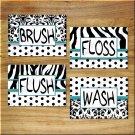 Teal Black White Bathroom Wall Art Pictures Prints Decor Zebra Polka Dot Damask WASH FLOSS