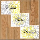 YELLOW & GRAY Wall Art Bathroom Pictures Prints Flowers Floral Decor Relax Refresh Unwind