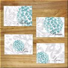 Gray + Teal Wall Art Pictures Prints Bedroom Bathroom Home Decor Floral Rustic/Distressed