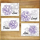 Purple and Gray Wall Art Pictures Prints Floral Flower Decor Live Love Laugh Dream Quotes
