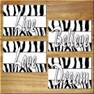 ZEBRA Pictures Prints Wall Art Decor Girls Teen Room Black + White Love Believe Dream Live