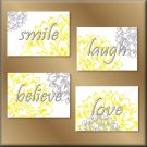 Yellow Gray Wall Art Pictures Prints Decor Laugh Love Believe Smile Flowers Floral Dahlia