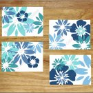 Teal Turquoise Blue Wall Art Pictures Prints Decor Floral Bloom Burst Home Tropical Flower