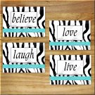 Turquoise Zebra Wall Art Pictures Prints Decor Girls Teen Dorm Live Laugh Love Believe