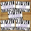 Zebra Purple Wall Art Pictures Prints Decor Live Laugh Love Quotes Bedroom Nursery Girls