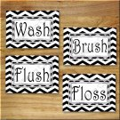 Black and White Chevron Zigzag Pictures Prints Wall Art Bathroom Bath Decor Floss Flush +