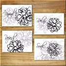 BLACK WHITE GRAY Wall Art Bathroom Flower Floral Pictures Prints Decor Relax Soak Unwind