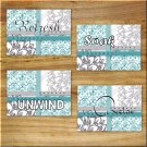 Teal Aqua Gray Bathroom Wall Art Pictures Prints Decor Floral Damask Quotes Relax Soak +