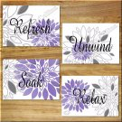 Purple Gray Wall Art Pictures Prints Bathroom Decor Dahlia Flower Floral Bath Quote RELAX