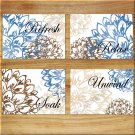 Brown Blue Tan Wall Art Bathroom Bath Rules Word Pictures Prints Decor Floral Flower Peony