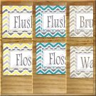 Yellow Gray Teal Tan Chevron Pictures Prints Wall Art Bathroom Bath Decor Floss Flush Wash