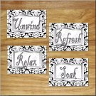 Gray Black White Bathroom Wall Art Pictures Prints Quote Relax Soak Refresh Unwind Damask