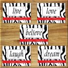 RED ZEBRA Pictures Prints Wall Word Art Decor Bathroom Girl Bedroom live love laugh Quotes