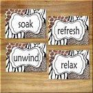 Leopard Zebra Giraffe Animal Pictures Prints Wall Art Bathroom Decor Safari Soak Refresh+