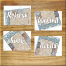Blue Brown White Damask Bathroom Wall Art Pictures Prints Quote Relax Refresh Soak Unwind