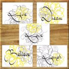 Gray Yellow Wall Art Pictures Prints Live Laugh Love Flower Floral Bedroom Nursery Kitchen