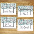 Teal Gray Aqua Bathroom Wall Art Word Quote Pictures Prints Damask Unwind Soak Relax Bath