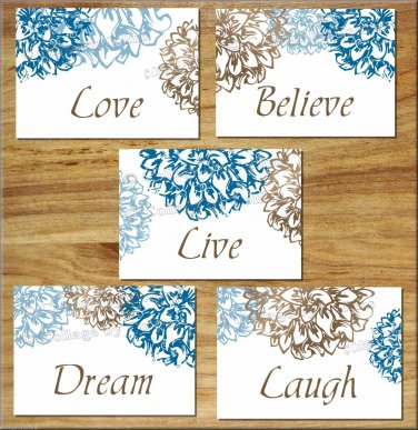 Brown Blue Wall Art Pictures Prints Floral Flower Bathroom Bedroom Decor Live Laugh Love