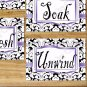 Purple Damask Bathroom Wall Art Pictures Prints Decor Quotes Soak Relax Unwind Refresh