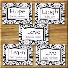 Black and White DAMASK Wall Art Decor Pictures Prints LIVE LAUGH LEARN LOVE Inspirational