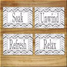 Chevron Pictures Prints Wall Art Bathroom Decor Soak Refresh Unwind Relax Shades of Gray