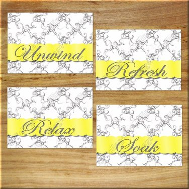Yellow and Gray Bathroom Wall Art Pictures Prints Quotes Decor Unwind Relax Soak Refresh