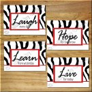 Red Zebra Wall Art Pictures Prints Decor Quotes Sayings Laugh Love Learn Hope Girl Bedroom