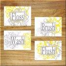 Gray + Yellow Floral Bathroom Wall Art Pictures Prints Bath Decor Floss Wash Brush Flush